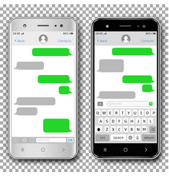 smart phones with messaging sms app vector image