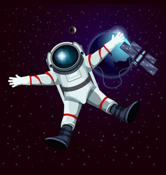 Spaceman or cosmonaut astronaut in space vector