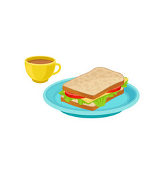 tasty sandwich on blue plate and fresh coffee in vector image