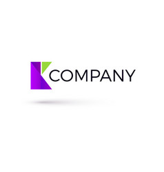 template k shaped logo created from geometric vector image