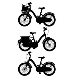 The silhouette of retro bicycles vector