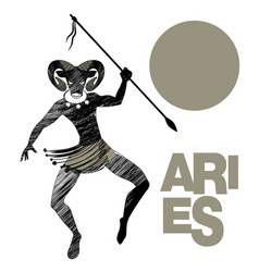 Tribal zodiac aries man with ram head and spear vector