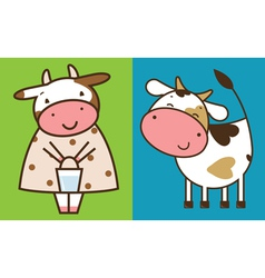 Two funny cows vector image