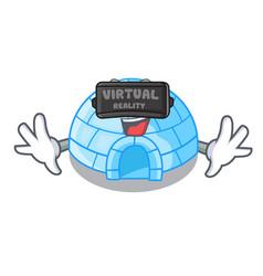 Virtual reality igloo ice house isolated on mascot vector