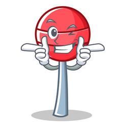 wink sweet lollipop character cartoon vector image