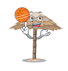 With basketball beach shelter buildings with palm vector