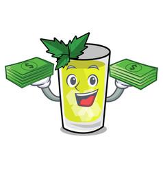 With money bag mint julep mascot cartoon vector