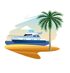 Yacht boat cartoon vector