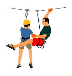 zip line action in adventure park rescue mission vector image
