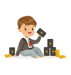 Cute little boy businessman sitting surrounded by vector