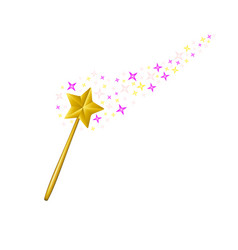 magic wand with stream of stars vector image vector image