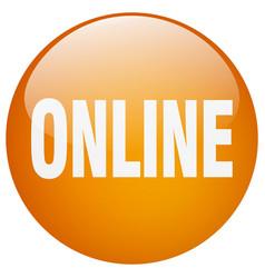 Online orange round gel isolated push button vector