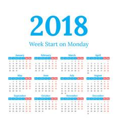 2018 calendar start on monday vector image