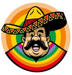 cartoon of smiling mexican man with sombrero vector image