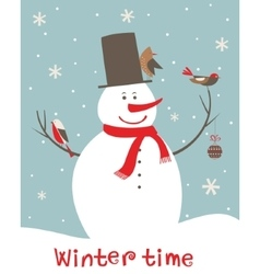 Christmas decoration with snowman and birds vector image vector image
