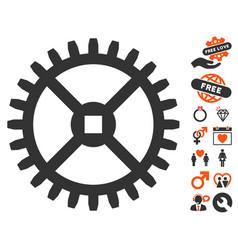 Clock gear icon with valentine bonus vector