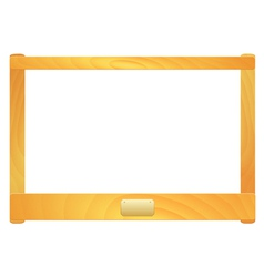 Empty wooden frame with a plate vector image