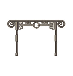 gate flat icon isolated iron fence old front view vector image