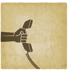 hand with telephone handset vector image