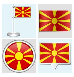 Macedonia flag - sticker button label flagstaff vector image vector image