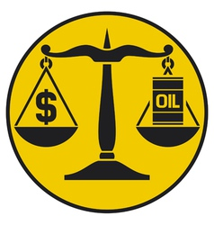 scales of justice balancing oil with the dollar vector image vector image