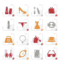stylized female fashion objects and accessories vector image vector image