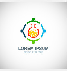 Teamwork colored lab science logo vector