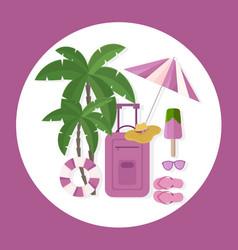 travel voyage stuff luggage umbrella sunglasses vector image