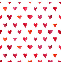 watercolor hearts pattern vector image vector image