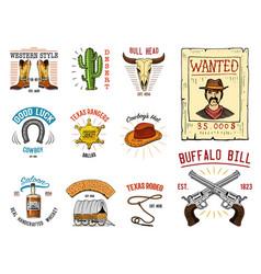 cowboy set badges wild west rodeo or indians vector image