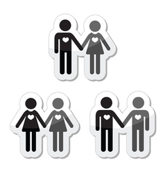 Hetero gay and lesbian love couples labels set vector image