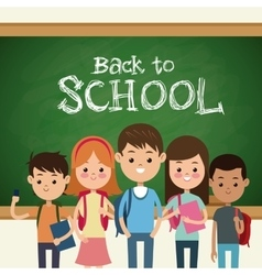 back to school students green board and chalk text vector image vector image