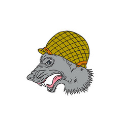 grey wolf head growling ww2 helmet drawing vector image vector image