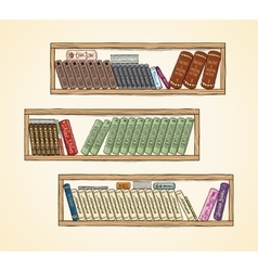 Hand drawn books on the bookshelves vector image