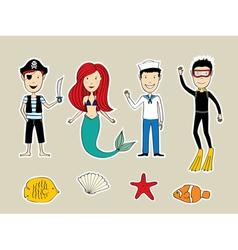 Sea heroes vector image vector image
