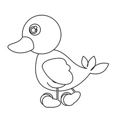 Silhouette caricature duck side view animal icon vector