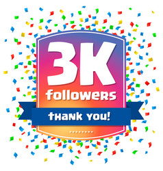 3000 followers thank you design card vector