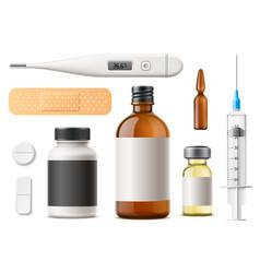 3d pills syringe ampoule patch capsule vector image