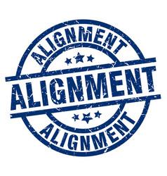 Alignment blue round grunge stamp vector