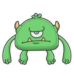 Angry green cyclops goblin cartoon monster vector