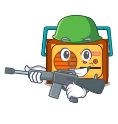 army radio character cartoon style vector image