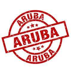 Aruba red round grunge stamp vector