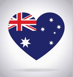 Australia aussie flag in heart shape vector