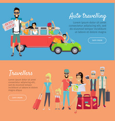Auto traveling and travelers banners vector