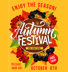 Autumn festival or picnic invitation poster vector