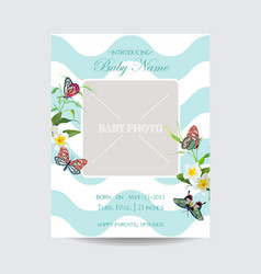 Baby arrival floral card with butterflies flowers vector