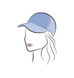 Beautiful young woman in a blue cap vector