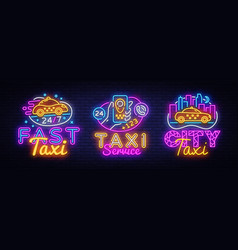 big collectin neon signs for taxi service design vector image