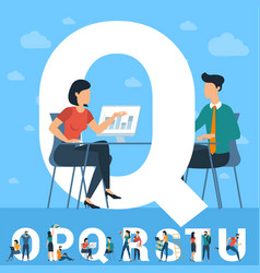 Big q letter white letter with young people vector