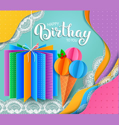 birthday greeting card with ice cream and gift vector image